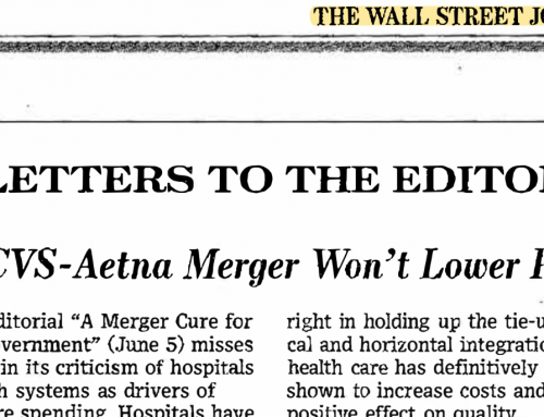 Dr. Hochman's Letter to the Editor Wall Street Journal CVS/Aetna Merger